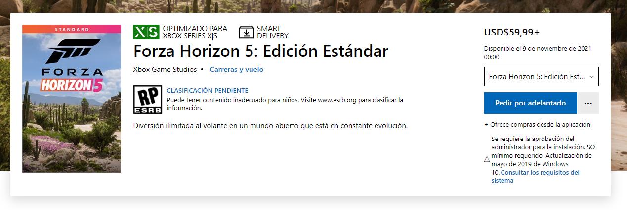 Forza Horizon 5 precio